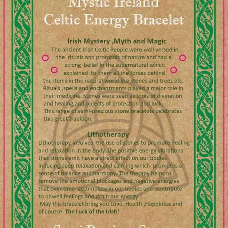 Mystic Ireland Amethyst Semi Precious Stone Celtic Energy Bracelet