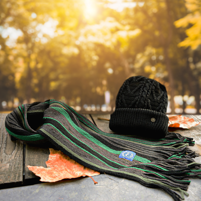Man Of Aran Scarf & Patchwork Hat Gift Set For Him