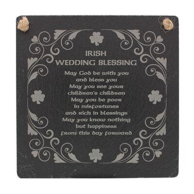 Irish Slate Rectangular Hanging Plaque With Irish Wedding Blessing Design