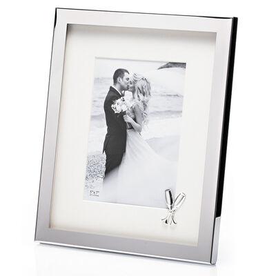 "Newgrange Living Wedding Photo Frame Flutes 5"" x 7"" Silver Plated"