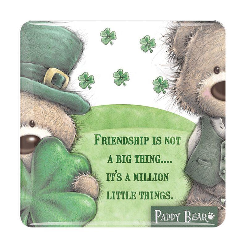 Paddy Bear Irish Designed Epoxy Magnet 'Friendship Is Not A Big Thing' Text