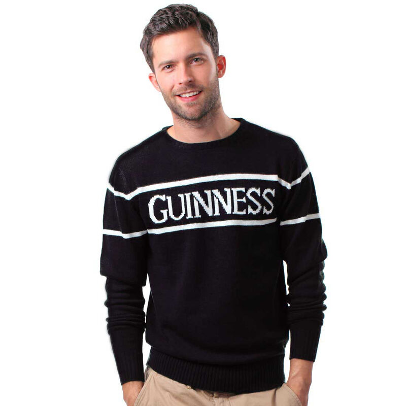 Official Guinness Men's Knit Sweater With White Guinness Text  Black Colour