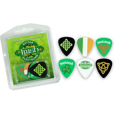 Irish Guitar Picks 6-Pack Of Medium Gauge Plectrums With Various Irish Designs