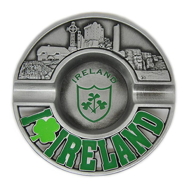 Metal 8cm Ireland Ashtray With Shamrock Design and Embossed Irish Landmarks