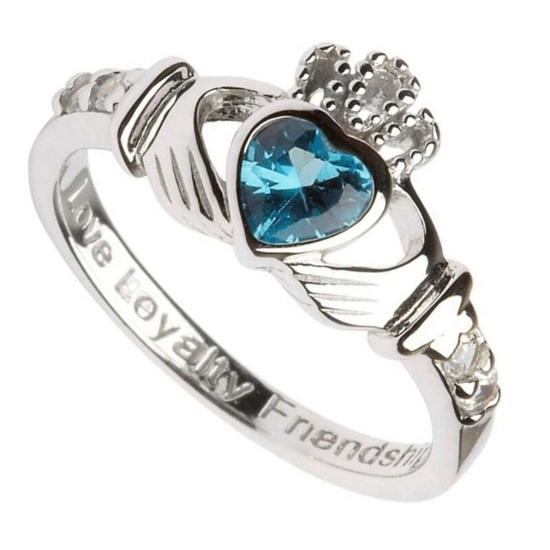 Hallmarked Sterling Silver Claddagh December Birthstone Ring
