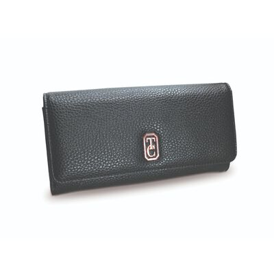 Tipperary Crystal Large Black Ladies Wallet With Gold Hardware
