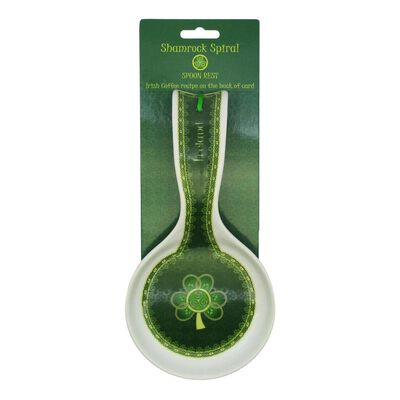 Shamrock Spiral Ireland Spoon Rest With Green And Yellow Celtic Design