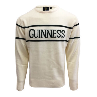 Official Guinness Men's Knit Sweater With Green Guinness Text  Cream Colour