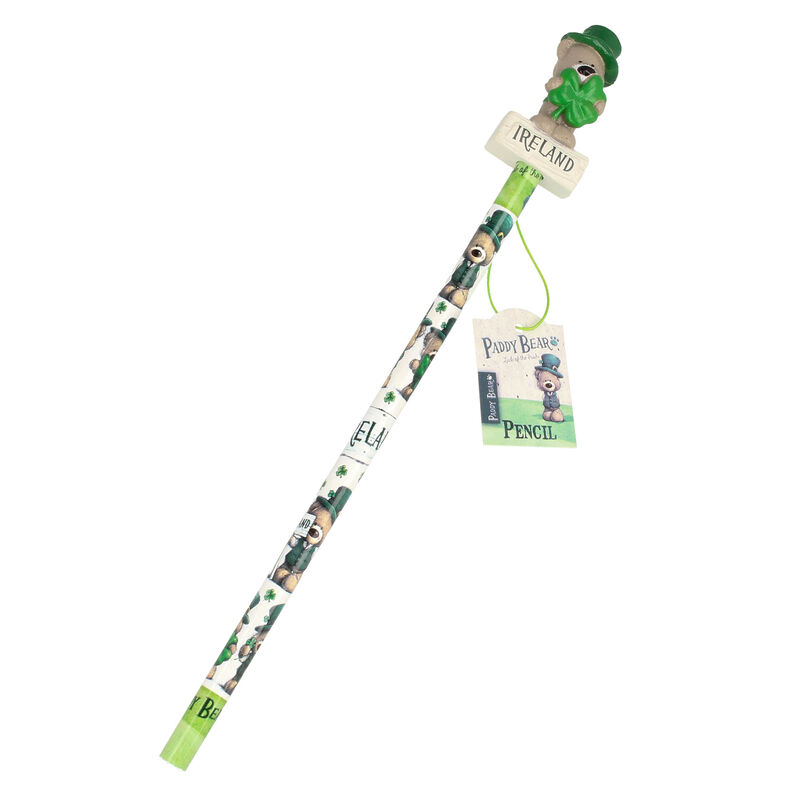 Paddy Bear Irish Designed Pencil With Shamrock Design And Topper