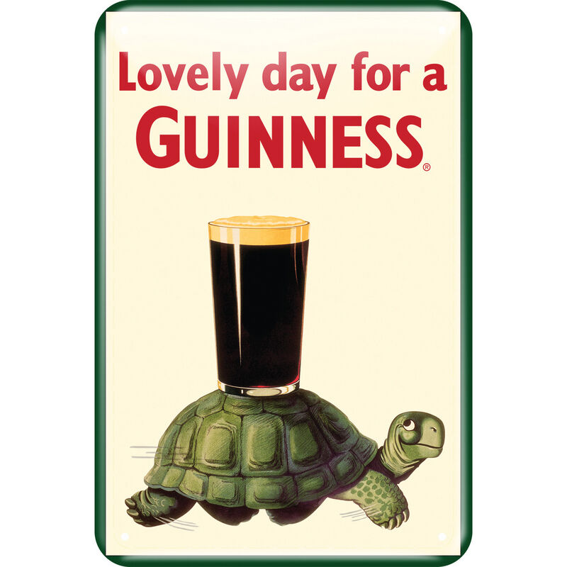 Guinness Metal Sign With Guinness Tortoise Design (20Cm X 30Cm)