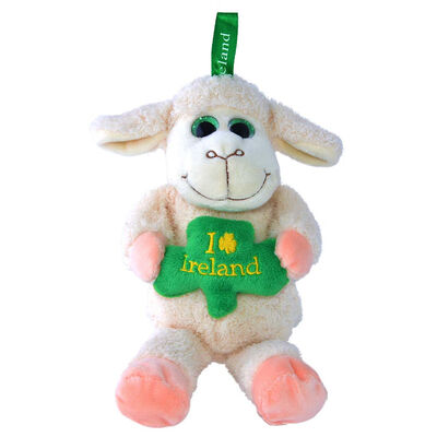 23Cm Sheep With Shamrock Soft Toy