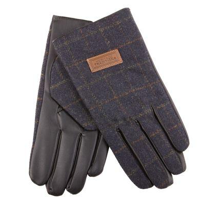 Heritage Traditions Mens Tweed Gloves  Blue Herringbone Design