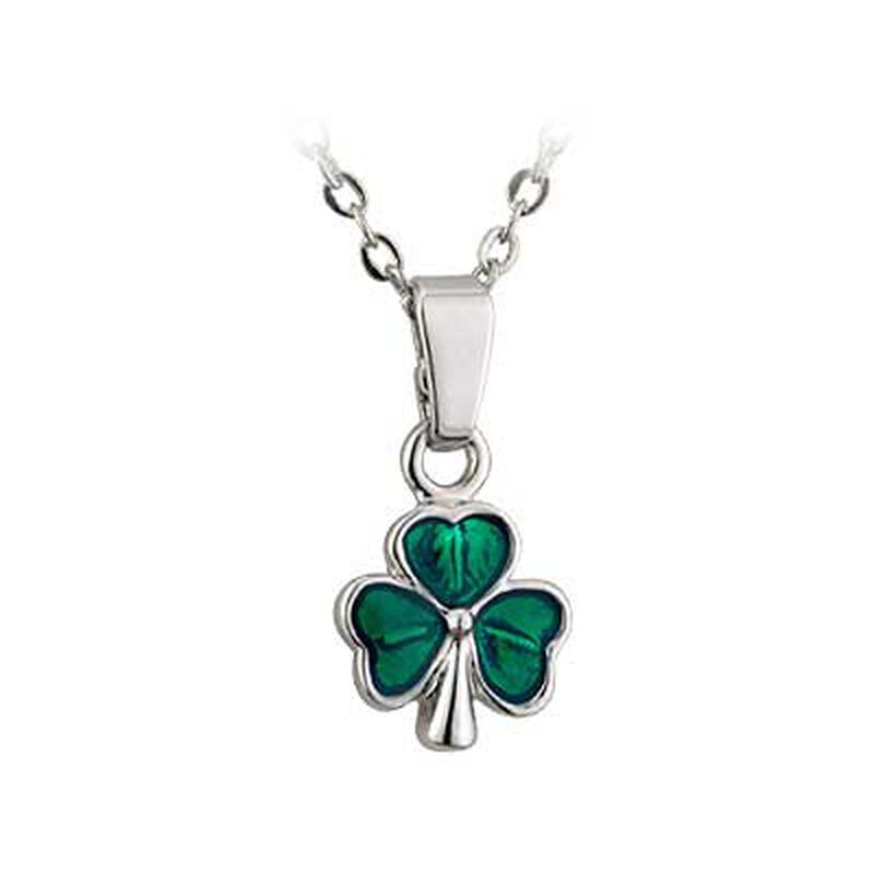 Rhodium Plated Mini Shamrock Pendant With  Green Glass Inlay