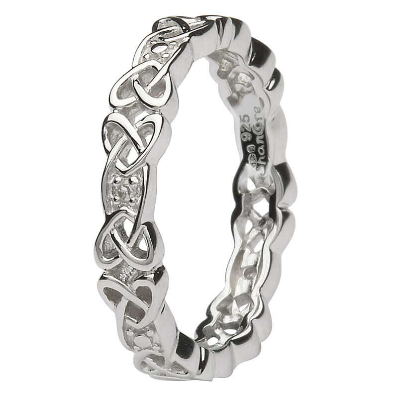 Ladies Hallmarked Sterling Silver Celtic Knot Stone Set Ring