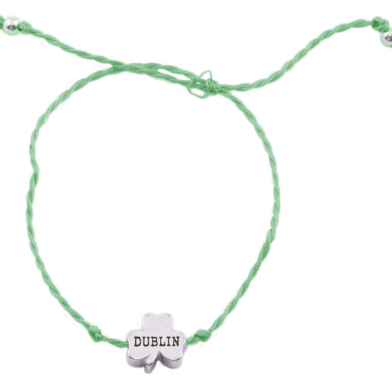 Green Cord Bracelet With Dublin Shamrock Charm