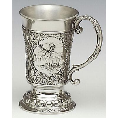 Mullingar Pewter Trinkbecher mit verziertem Griff und Rothirsch Szenen