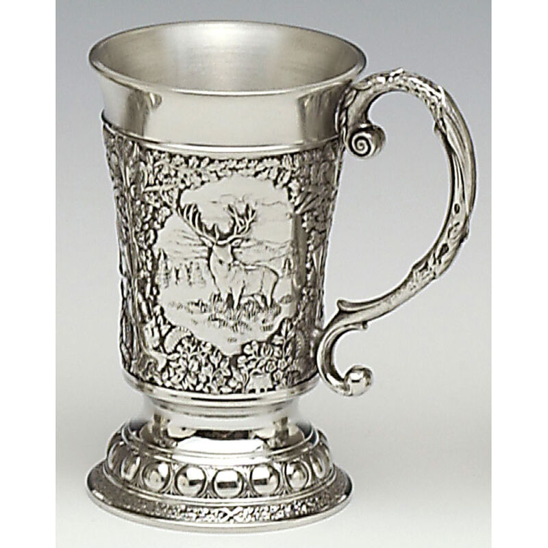 Mullingar Pewter Drinks Measure With Ornate Handle And Red Stag Scenes