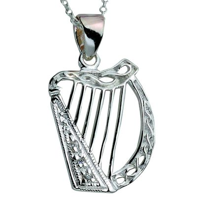 Hallmarked Sterling Silver Pendant With Harp Design And Cubic Zirconia