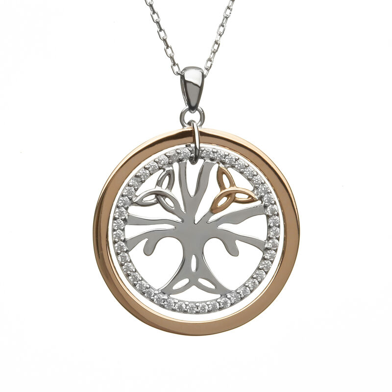 Hallmarked Sterling Silver & Rose Celtic Tree of Life Pendant With Cubic Zirconia