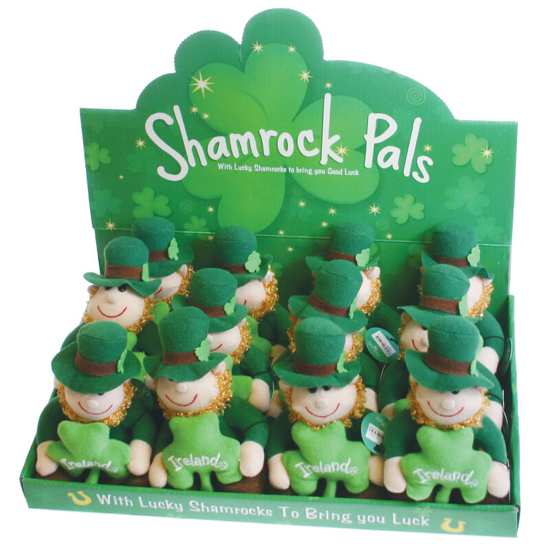 "5"" Irish Shamrock Pals Leprechaun Soft Toy With Green Shamrock"