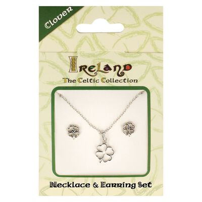 Ireland The Celtic Collection Four Leaf Clover Jewellery Set