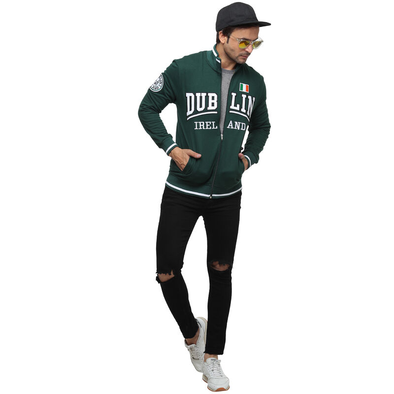 Full-Zip Sweater With Dublin Ireland Print and Tri Colour Flag  Green Colour