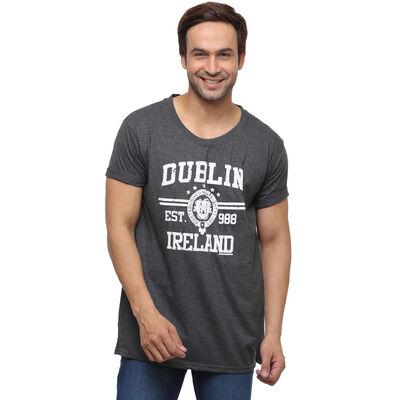 T-Shirt With Dublin Ireland Est 988 and Dublin Crest Print  Black Colour