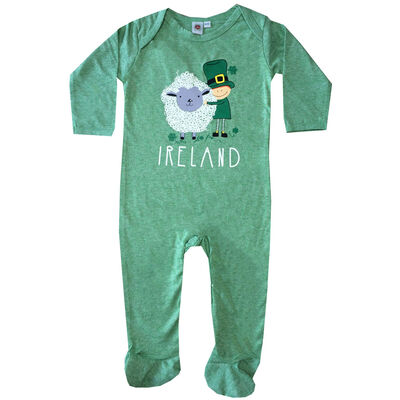 Ireland Baby Romper With Leprechaun And Sheep Design, Green Colour