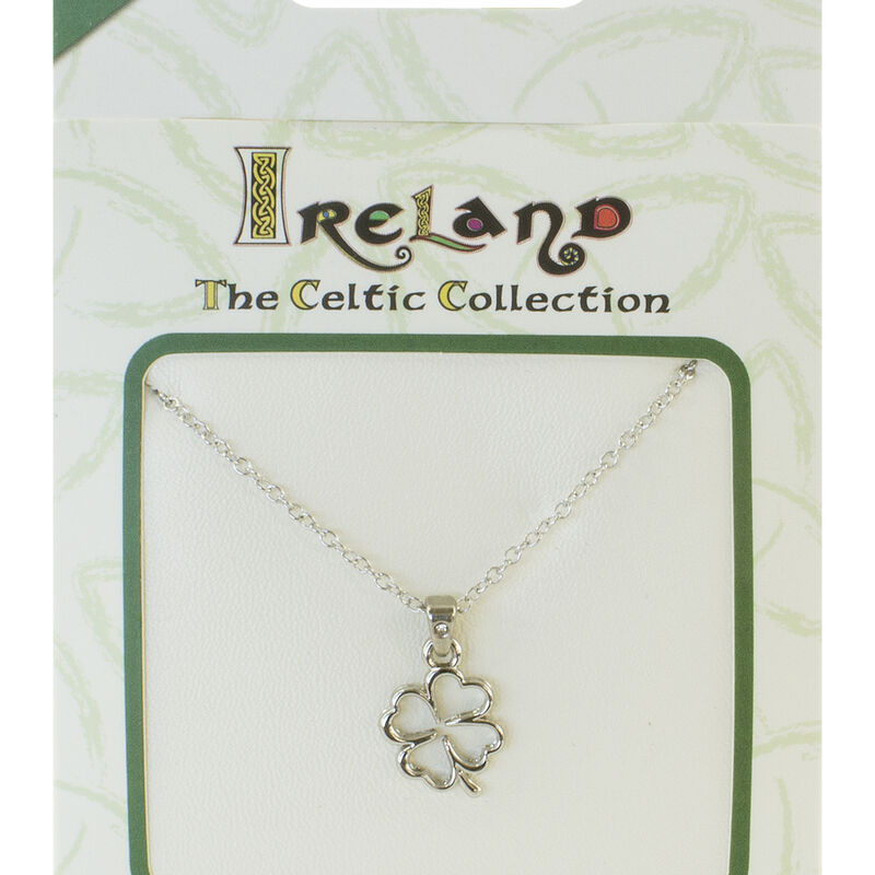 Silver Plated Celtic Collection Pendant with Four Leaf Clover and Diamante Loop