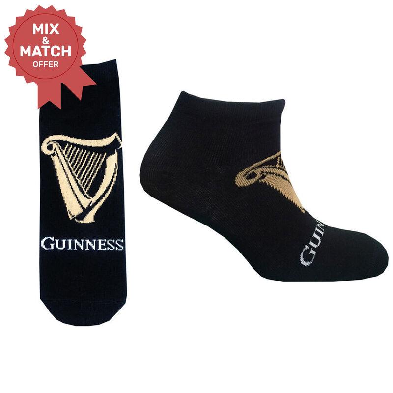 Guinness Harp Logo Design Trainer Socks With White Guinness Text Black Colour