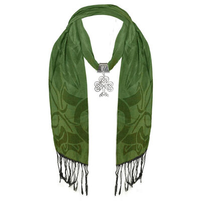 Ladies Green and Black Scarf With Large Metal Celtic Shamrock Pendant
