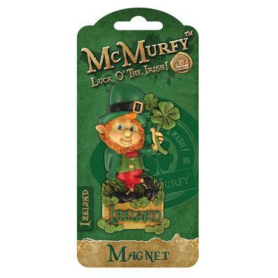 McMurfy Luck O' The Irish Leprechaun Designed Resin Clover Magnet