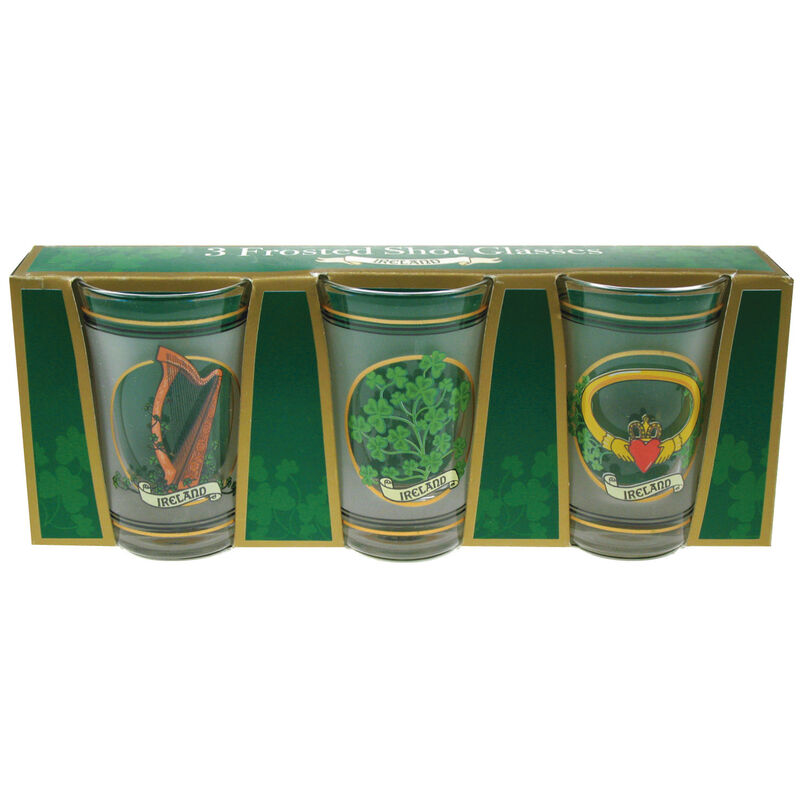 Three Pack Shot Glasses With Harp  Shamrock And Claddagh Prints
