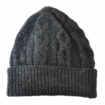 Merino Wool Knit Hat  Charcoal