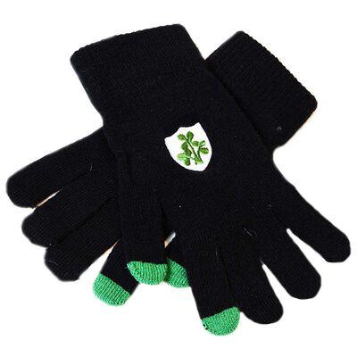 Black Irish Touch Screen Gloves With Green Shamrock Design