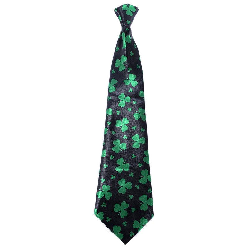 Black Tie With Green Shamrock Design