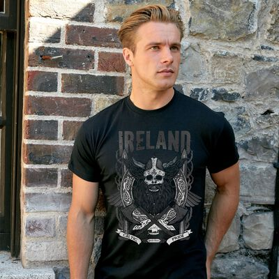 Black Viking Style T-Shirt with Ireland Text