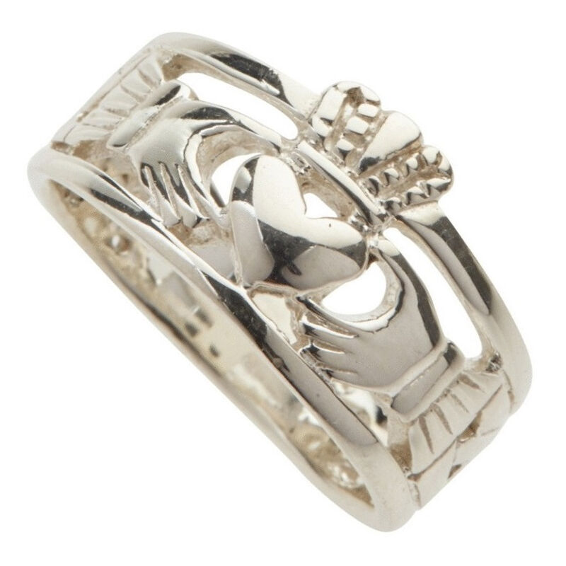 Hallmarked Sterling Silver Celtic Claddagh Ring  Presented In A Box