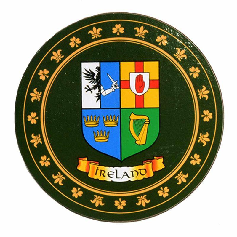 Heraldic Coaster With Four Provinces Of Ireland Crest Design
