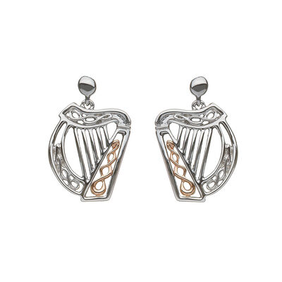 Hallmarked Sterling Silver Irish Harp Earrings with Rose Gold