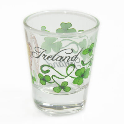 Loose Irish Shot Glass With Gold Harp And Sprig Of Shamrock Design
