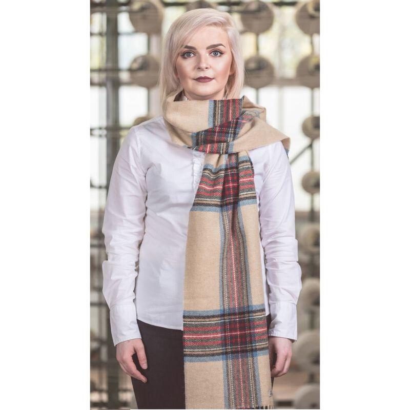 Foxford Woollen Mills Authentic Irish Scarf  Classic Stone Tartan Colour