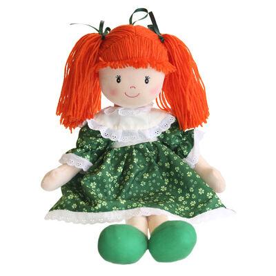 Sinead irische Stoffpuppe mit grünem Shamrock Kleid 11 hoch