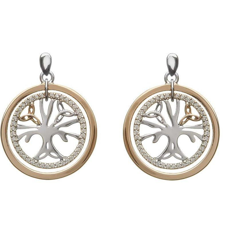 Hallmarked Sterling Silver  And Rose Gold Cubic Zirconia Tree Of Life Earrings