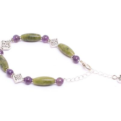 Round Faceted Amethyst Bracelet With Connemara Marble