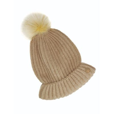 Quiet Man Collection Irish Designed Bobble Hat  Oatmeal In Colour