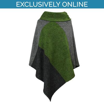 Yoko Wool Women's Poncho Mixed Green & Grey Colour Trio Collection