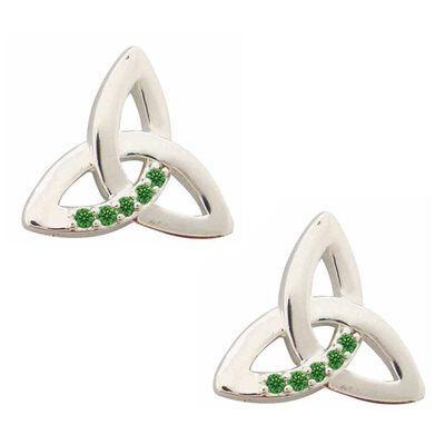 Versilberte Ohrstecker mit Triqueta-Knoten und smaragdgrünen Zirkoniasteinen