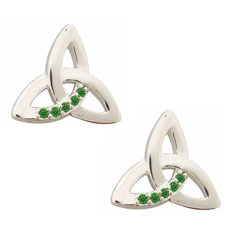 Silver Plated Trinity Knot Stud Earrings With Emerald Cubic Zirconia Stones