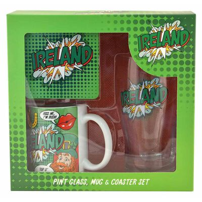 Ireland Pop Art Designed Pint Glass Set Which Includes Coaster and Mug